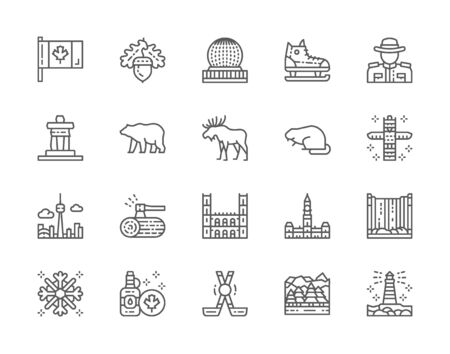 Set of Canadian Culture Line Icons. Sports Equipment, Police, Bear, Elk and more Stock Illustratie