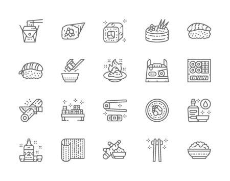 Set of Japanese Food Line Icons. Ginger, Temaki, Nigiri, Wasabi, Soy and more. Illustration