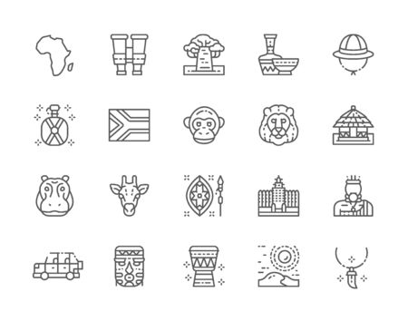 Set of Africa Line Icons. Tooth Pendant, Binoculars, Pottery, Animals and more.