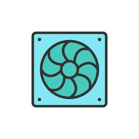 Vector computer fan flat color line icon. Stock Illustratie