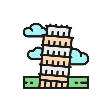 Vector tower of Pisa, Italy, landmark flat color line icon.