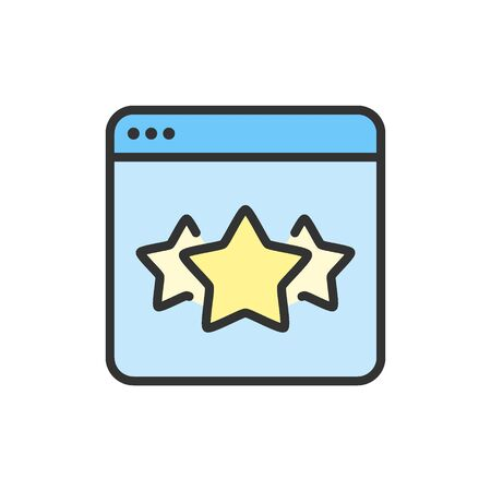 Vector stars in browser, best choice website, feedback flat color line icon.