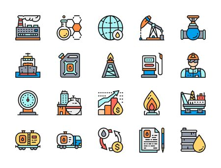 Set of Oil Industry Flat Color Line Icons. Fuel Truck, Petroleum Wagon and more.