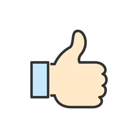 Vector thumb up, like, positive feedback flat color line icon.