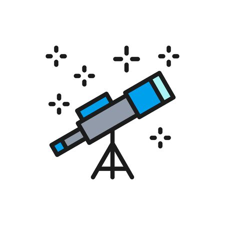 Vector telescope flat color line icon. Isolated on white background