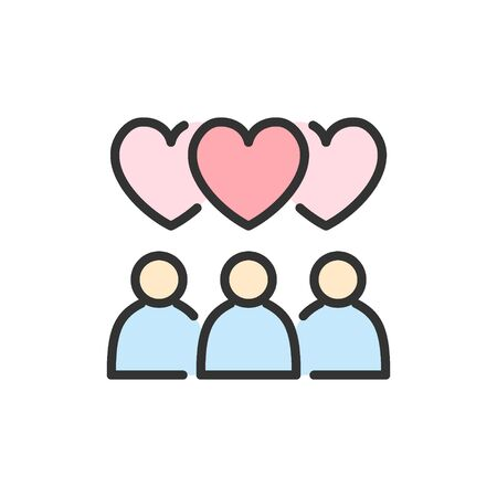 Vector people with heart bubbles, love chat flat color line icon.