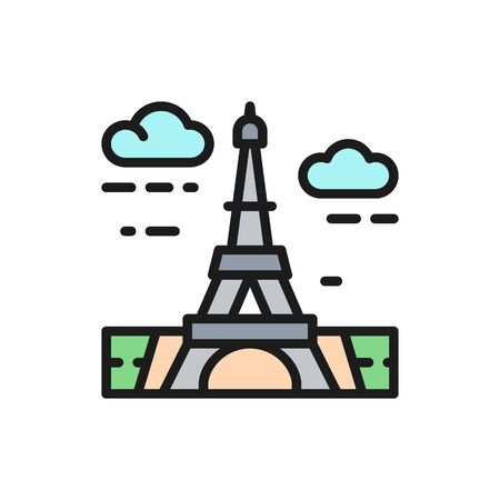 Vector Eiffel Tower, France, landmark flat color line icon.