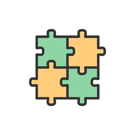 Vector puzzle, jigsaw, square, integrity, problem solving flat color line icon.