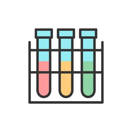 Vector test tube, experiment flask, laboratory glass flat color line icon. Symbol and sign illustration design. Isolated on white background