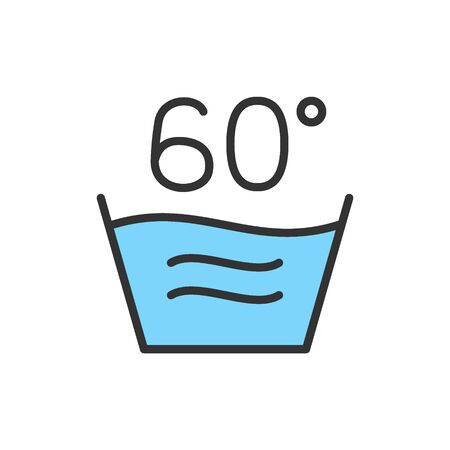 Vector hot laundry, 60 degrees washing temperature flat color line icon. Symbol and sign illustration design. Isolated on white background Stock Illustratie