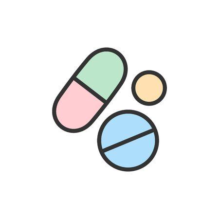Vector medical pills, health tablet, drug flat color line icon. Vektorové ilustrace
