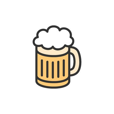 Vector beer mug flat color line icon. Symbol and sign illustration design. Isolated on white background Иллюстрация