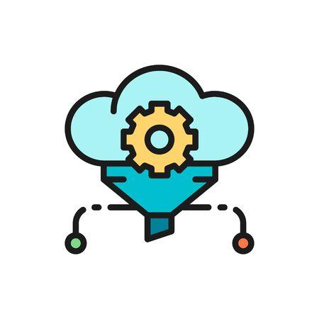 Cloud filter, big data, service database flat color line icon.