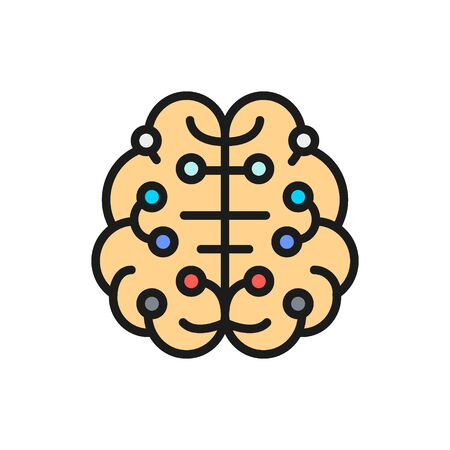 Artificial intelligence brain, connected to circuit board flat color line icon. Stok Fotoğraf - 131365580