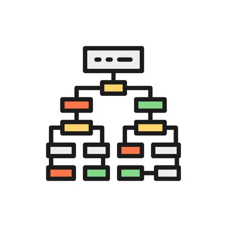 Program algorithm, flowchart plan, workflow mindmap flat color line icon. 일러스트