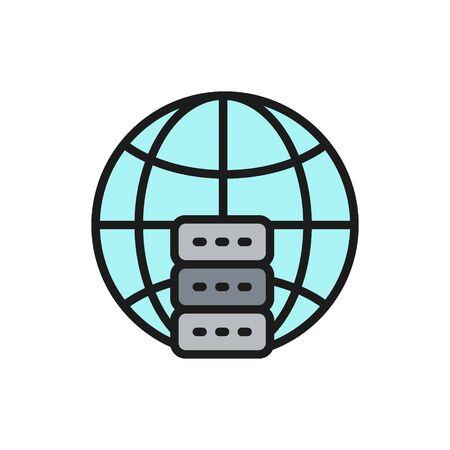 Global hosting server, data centr flat color line icon.