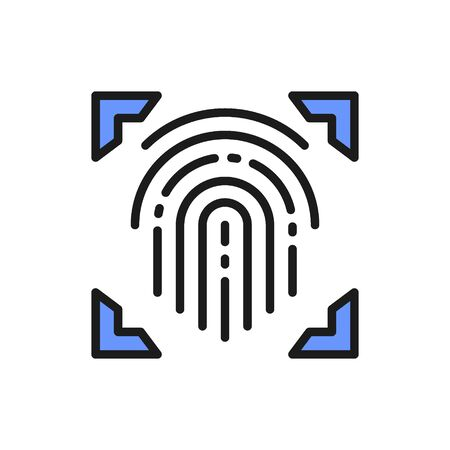 Fingerprint, scanned finger, cryptographic signature, identity color line icon.