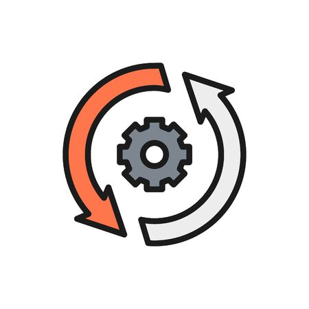 Gear wheel with two arrow, process, system update flat color line icon.