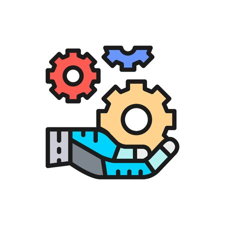 Hand holds a gears, tech development, engineering, technology color line icon. Çizim