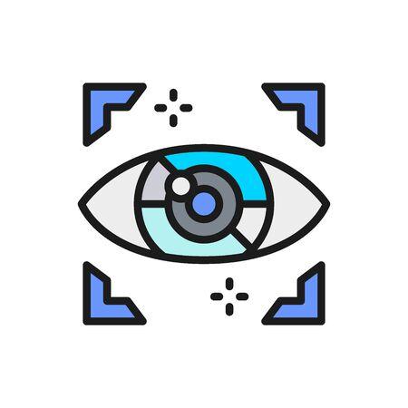 Artificial intelligence eye, computer surveillance flat color line icon.