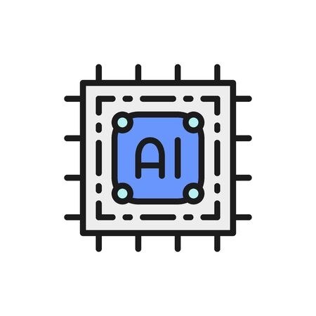 Vector artificial intelligence chip, electronic circuit, processor flat color line icon. Symbol and sign illustration design. Isolated on white background Stok Fotoğraf - 131366775