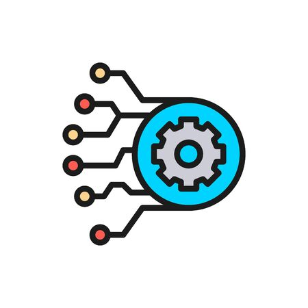 Vector gear with circuit board, artificial intelligence flat color line icon. Symbol and sign illustration design. Isolated on white background 일러스트