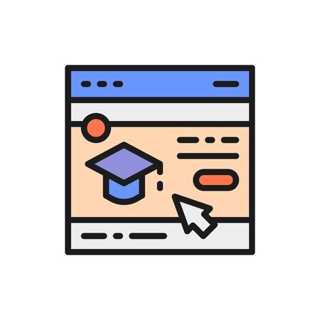 Vector education website, web page flat color line icon. Symbol and sign illustration design. Isolated on white background Foto de archivo - 131966257