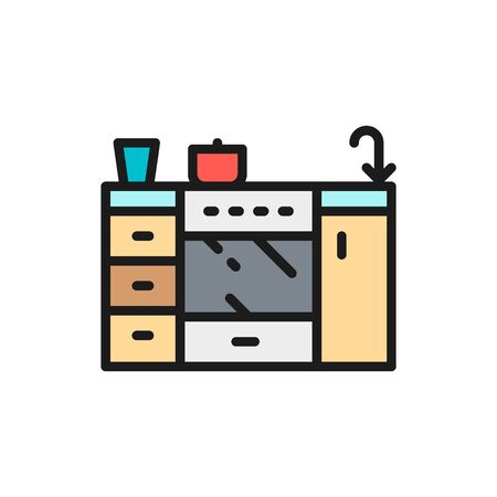 Vector cooker, furniture for kitchen flat color line icon. Symbol and sign illustration design. Isolated on white background Ilustração