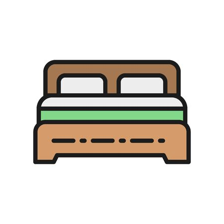 Vector double bed flat color line icon.