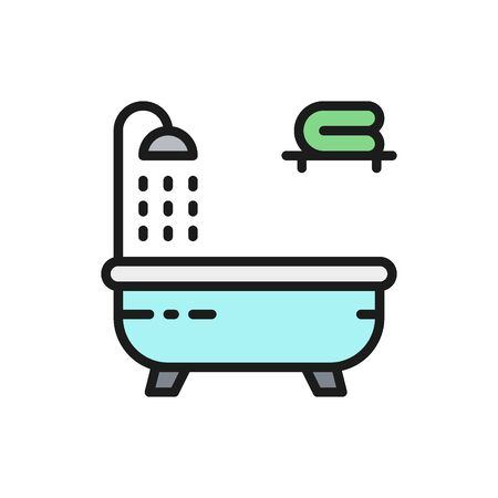Vector bathtub flat color line icon. Symbol and sign illustration design. Isolated on white background