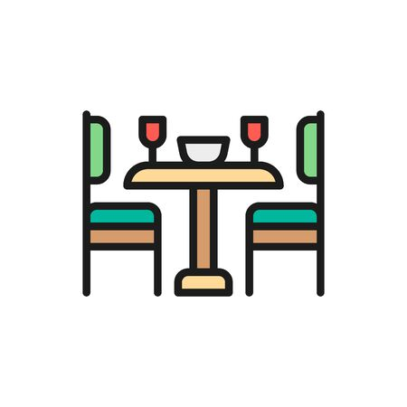 Vector kitchen table and chairs flat color line icon. Symbol and sign illustration design. Isolated on white background