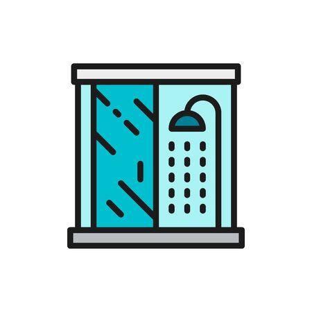 Vector shower cabin, bathroom flat color line icon. Symbol and sign illustration design. Isolated on white background Ilustração