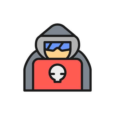 Vector computer hacker with laptop, spy agent flat color line icon. Symbol and sign illustration design. Isolated on white background Çizim