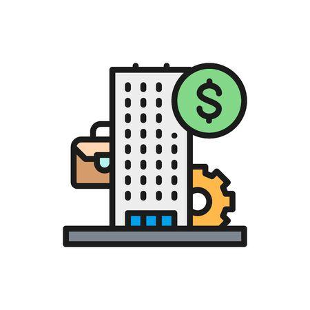 Vector business center, bank, financial institution flat color icon. Symbol and sign illustration design. Isolated on white background Ilustração