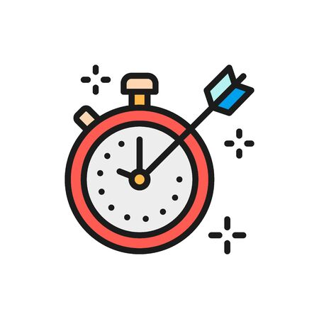 Vector stopwatch with marks and arrow flat color icon. Symbol and sign illustration design. Isolated on white background Ilustração