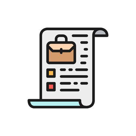 Vector company charter, stocks, portfolio flat color icon. Symbol and sign illustration design. Isolated on white background Ilustração