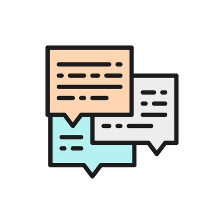 Vector message, business conversation, email flat color icon. Symbol and sign illustration design. Isolated on white background