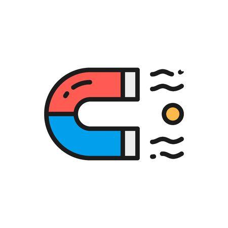 Vector magnet flat color icon. Symbol and sign illustration design. Isolated on white background Ilustração