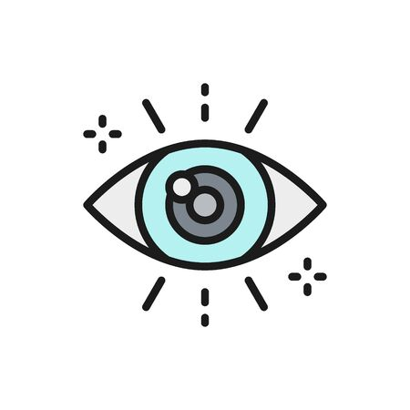 Vector business look, attentive eye color icon. Symbol and sign illustration design. Isolated on white background
