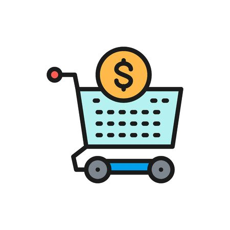 Vector cart, money, investment, deposit flat color icon. Symbol and sign illustration design. Isolated on white background