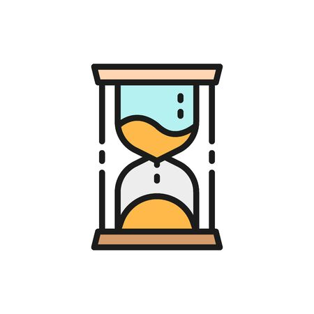 Vector hourglass, time management flat color icon. Symbol and sign illustration design. Isolated on white background