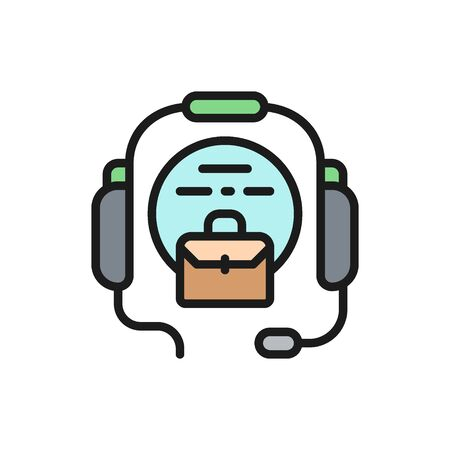 Vector call center, headset flat color icon. Symbol and sign illustration design. Isolated on white background Ilustração