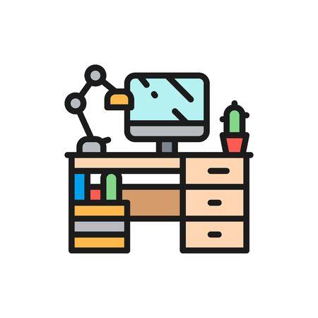 Vector workplace, desk with computer and lamp flat color icon. Symbol and sign illustration design. Isolated on white background