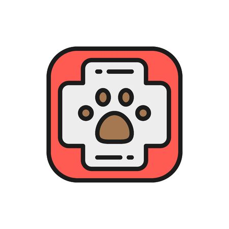First aid kit for animals flat color icon.
