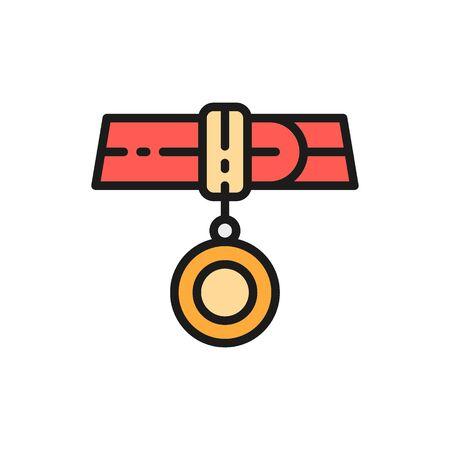 Collar with address, medallion flat color icon. Standard-Bild - 133338494