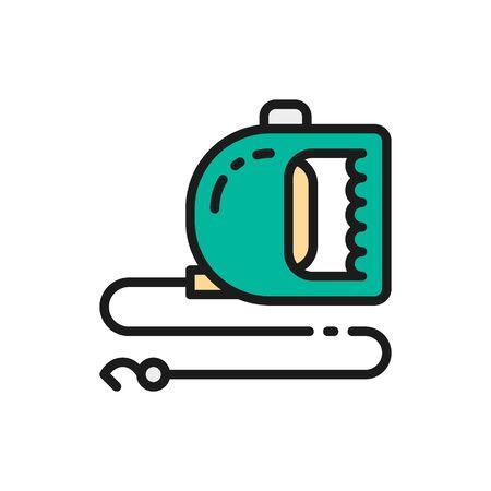 Roulette leash for pet flat color icon. Ilustrace