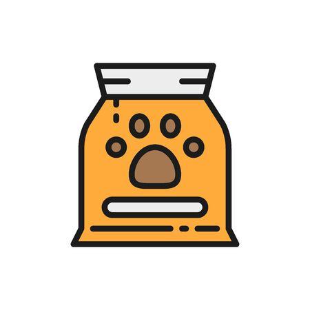 Bag with animal food flat color icon.