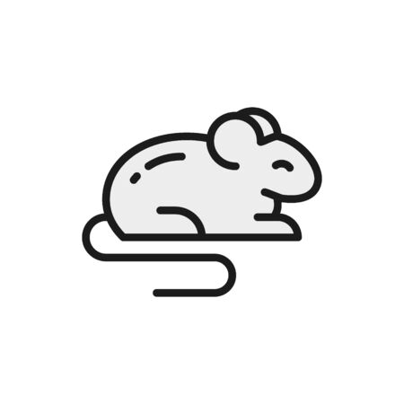 Mouse, rat, hamster, rodent, pet, animal flat color icon.