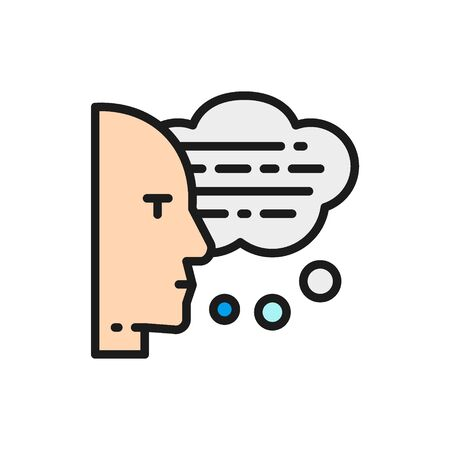 Man with speech bubbles, thoughts, reading aloud flat color icon. 일러스트
