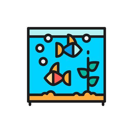 Square aquarium with fish flat color icon.